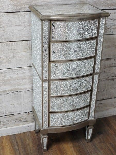 Crackle Mirrored Tall Boy Chest Of Drawers Silver Sparkly Broken Glass